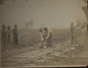 Original Photograph (SC PHOTO 0001- [Two Men Bending Rails])