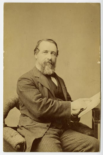 Cabinet card portrait of Henry Chadwick seated with a book in his hands. / G. Frank E. Pearsall, 289 Fulton St. [Brooklyn, N.Y.], [1874].
