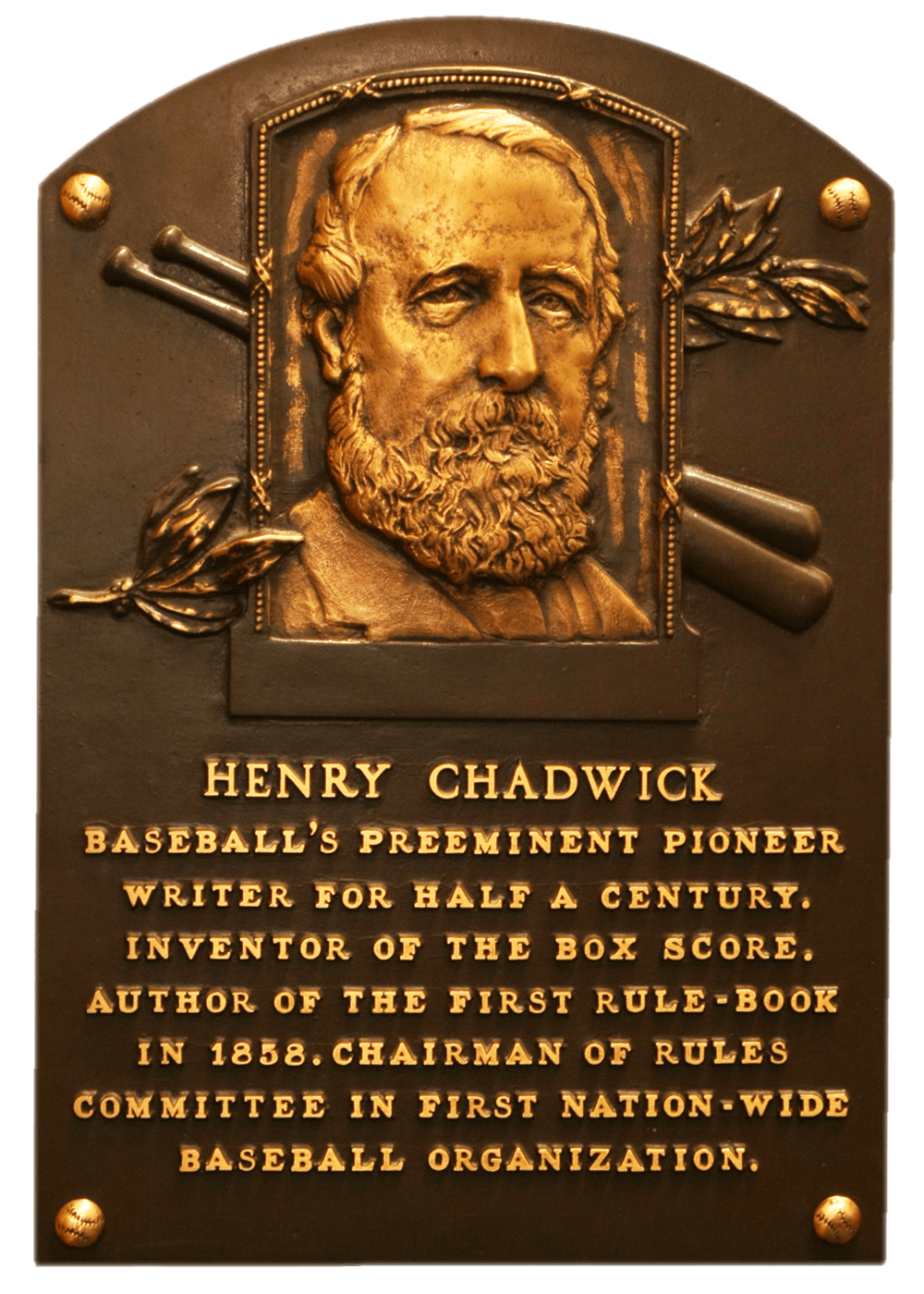 Henry Chadwick Baseball Hall of Fame Plaque