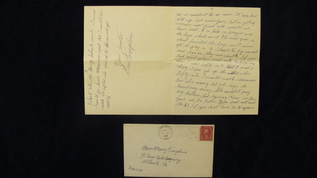 Mary Tompkins letter sent to Atlanta, Georgia.