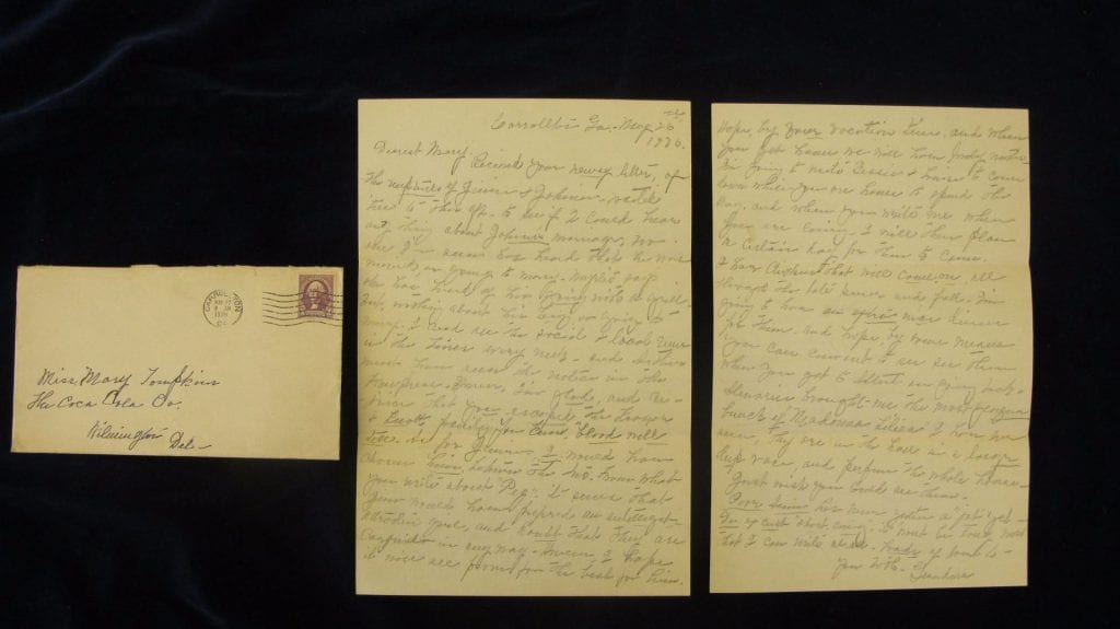 Letter sent to Wilmington, DE