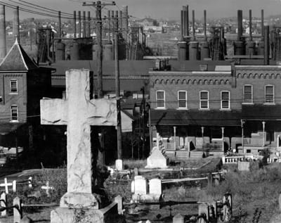 Walker Evans - Bethlehem Graveyard and Steel Mill. Pennsylvania