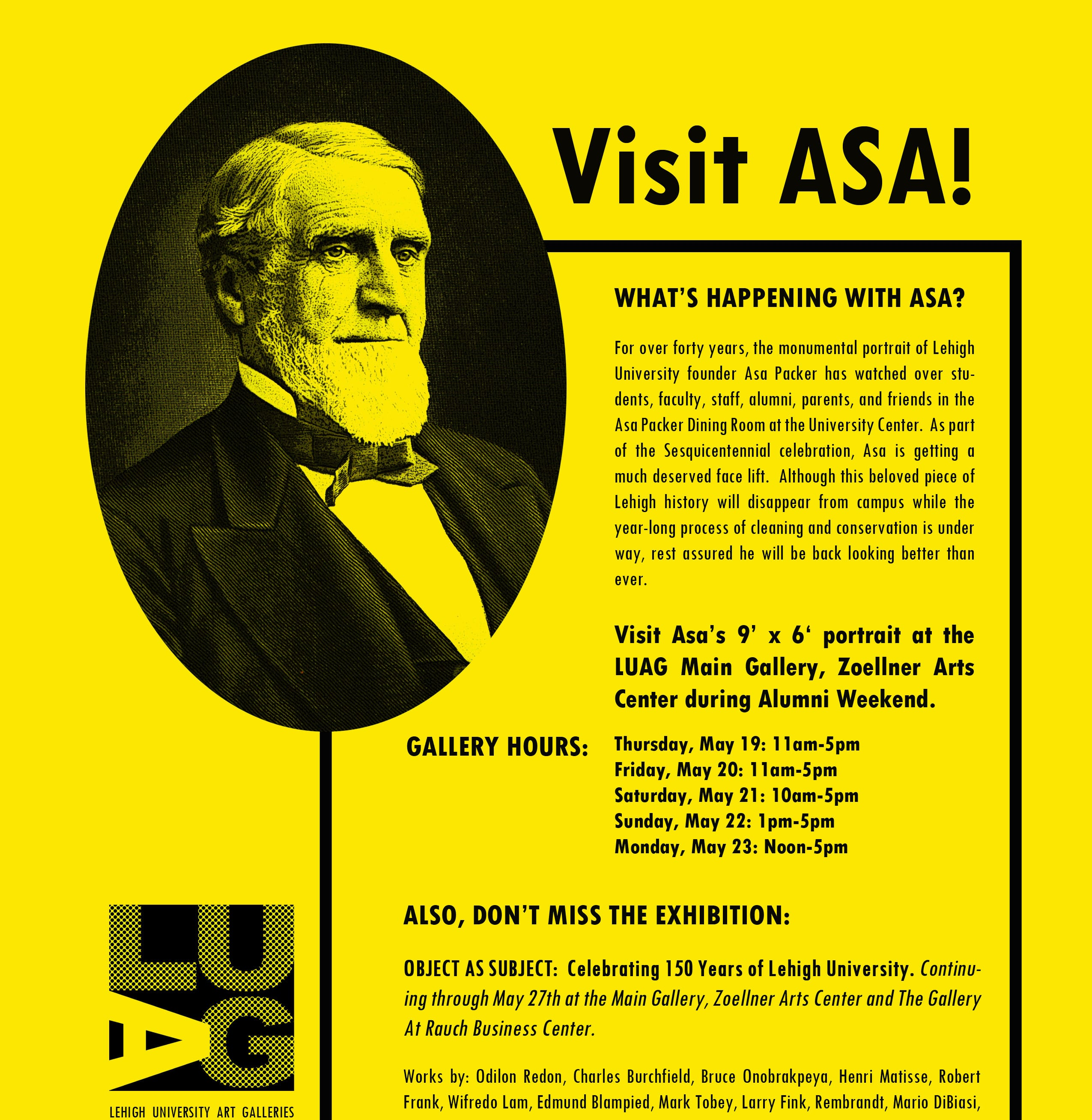 Flyer inviting people to view Asa Packer portrait before restoration