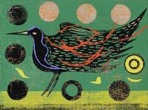 Kimura Yoshiharu, Red Feather, 1974, Woodblock print, 88/95