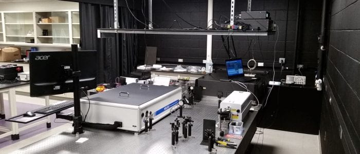 Photo of the laser laboratory in the Young Lab at Lehigh University.