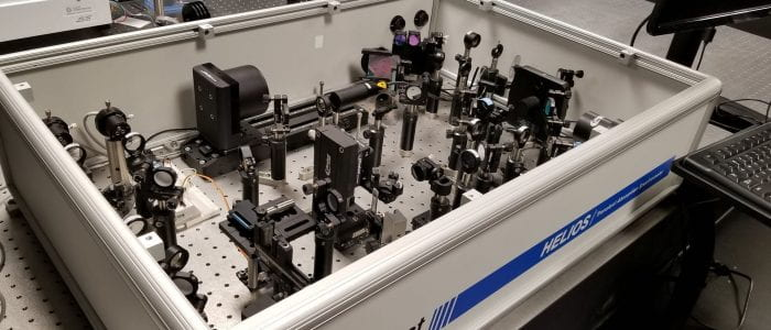Ultrafastsystems Helios-EOS optical setup for transient absorption.