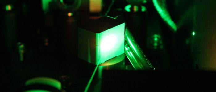 Inside the Libra: pump laser passing through the Ti:sapphire crystal.