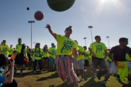A student throwing a dodgeball