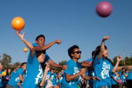 Blue team throws dodgeballs