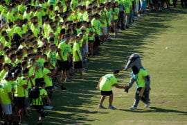Anteater mascot wishes participants good luck