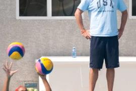 Dan Klatt overlooks women's water polo training