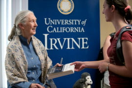 Jane Goodall signing books for fans