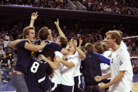 Volleyball team celebrating NCAA championship victory