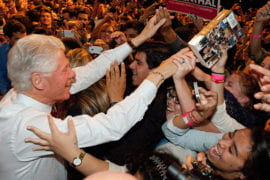 Bill Clinton working the crowd