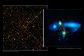 Two young galaxies colliding