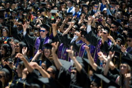 Students during Commencement 2014