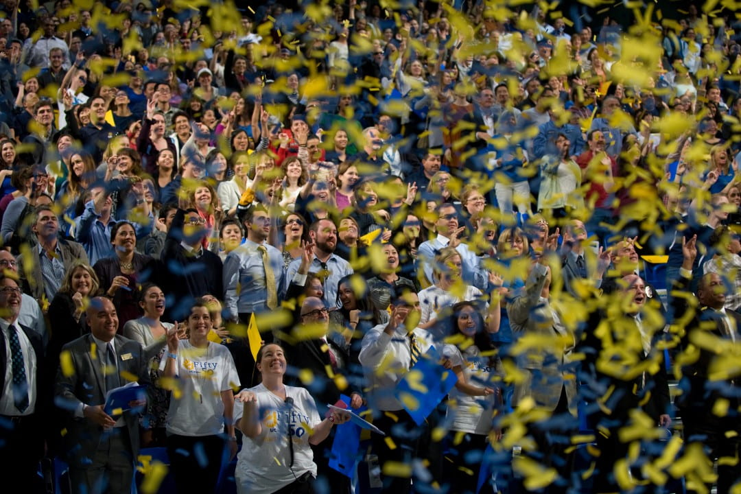 Confetti rains down on the crowd at UCI's 50 for 50 volunteer program launch Thursday at the Bren Events Center.