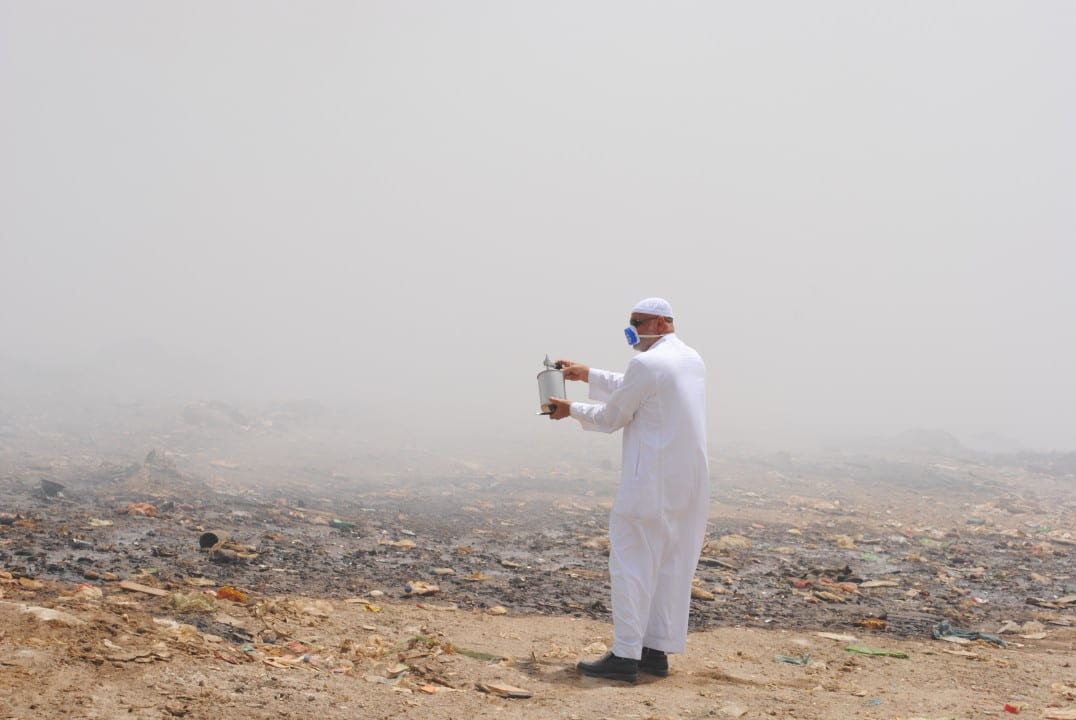 Researcher testing air pollution in the Middle East