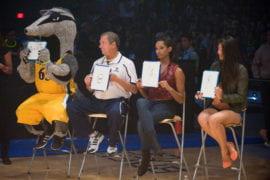 Judges giving scores for slam-dunk contest