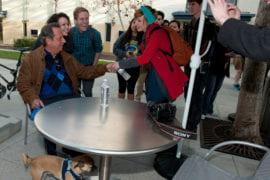 Jon Lovitz talking to students