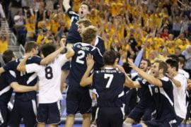Mens Volleyball team celebrating