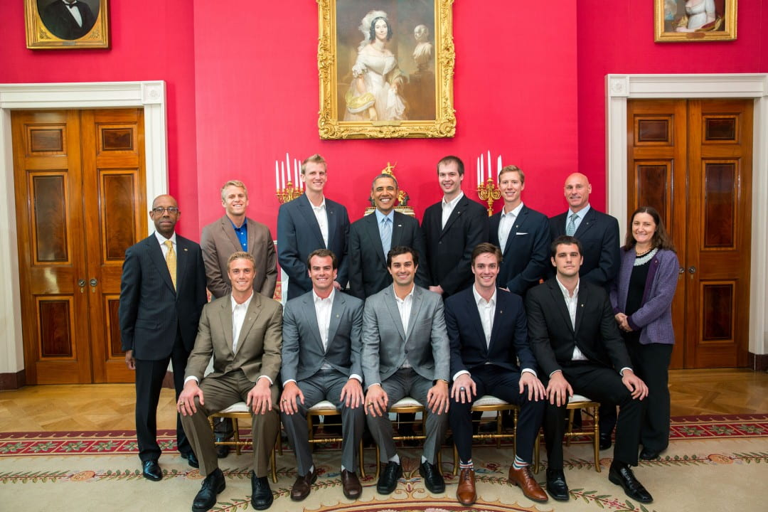 NCAA championship volleyball team with Obama