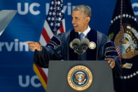 Obama speaking at Commencement