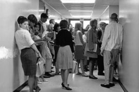Students at first day of classes 1965