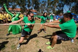 Green team during tug-of-war
