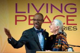 Michael Drake introducing Jane Goodall to speak