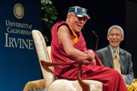 The Dalai Lama chuckling