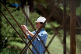 Director Eli Simon watches construction