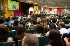 Audience listening to Jane Goodall