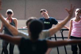 Students rehearsing under Alonzo King