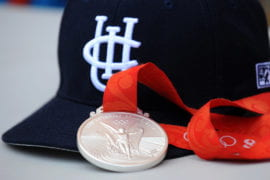 UCI Hat with a silver medal