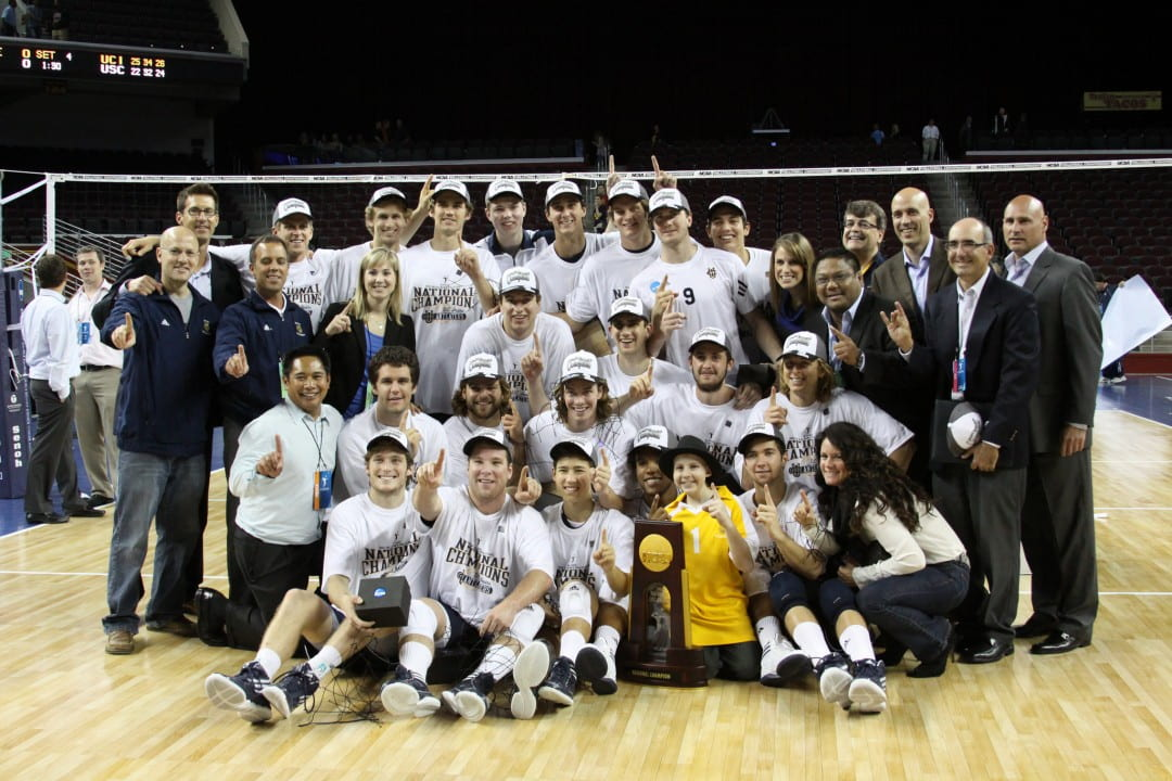 UCI's Men's Volleyball Team with NCAA Title trophy