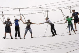 People on the rope course at the ARC