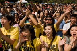 Students cheering at a campus event
