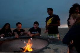 Students having a bonfire