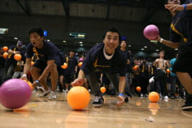 Students breaking the dodgeball world record