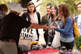 Students buying Spam Musubi on Ring Mall