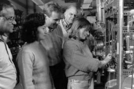 Rowland with students Rama Iyer, Nun-Yi Wang, Donald Blake, and Nichola Blake