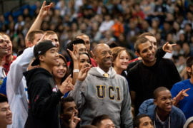 Chancellor Michael Drake with students