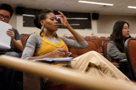 Santana in a lecture hall