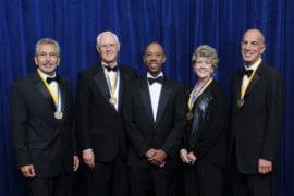 Manuel Gomez, Larry Overman, Chancellor Michael Drake, Barbara Davidson and Michael Mussallem