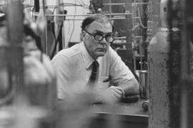 Rowland works in his laboratory