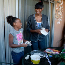 Santana with her 9-year-old daughter, Nyla