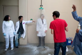 Professor Evans is doused under a safety shower