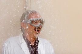 Evans under the safety shower