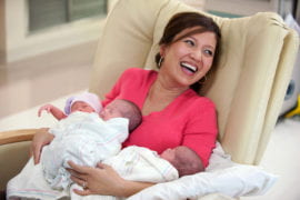 Angie with her triplets